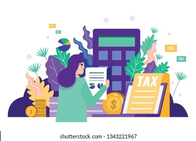 Business woman reading tax document to audit financial  data. Tax financial analysis,  tax online, accounting service concept. Flat design. Vector illustration.