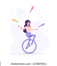 A business woman is riding on unicycle and juggling different tasks. Multitasking concept. Flat vector illustration.