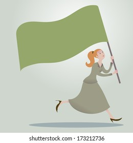 Business woman running forward with waving flags.