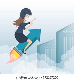 business woman running towards the goal