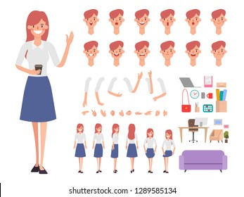 Business woman or Secretary character creation for animation. Ready for animated. Office job.