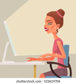 Business woman secretary character typing on computer. Vector flat cartoon illustration