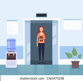 Business woman secretary character waiting elevator in business center hall company. Business life concept. Vector flat cartoon graphic design illustration