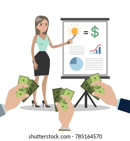Business woman selling idea with startup. People giving money.