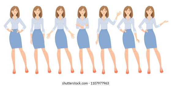 Business woman set. Set of female gestures and postures vector illustration.