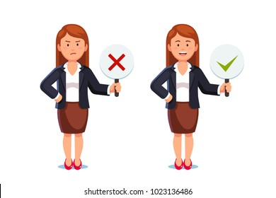 Business woman showing check mark confirmation or approval and reject cross mark sign placards. Business woman holding disapproval placard. Positive & negative signs. Flat vector isolated illustration