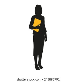 Business woman silhouette with documents