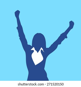 Business Woman Silhouette Excited Hold Hands Up Raised Arms, Businesswoman Concept Winner Success Vector Illustration
