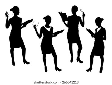 Business woman silhouettes vector