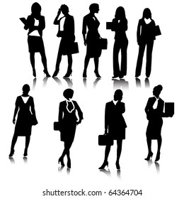 business woman silhouettes.Vector