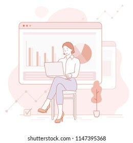 Business woman sitting cross-legged on a chair and looking at a graph on a laptop. hand drawn style vector design illustrations.