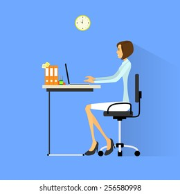business woman sitting at desk in office working laptop computer vector illustration