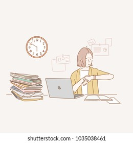 Business woman sitting at desk and working late. hand drawn style vector doodle design illustrations.