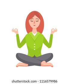 Business woman sitting in lotus pose vector image isolated on white background, illustration of woman that doing yoga exercises for concentration