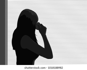 Business woman standing by window and drinking coffee. Monochromatic vector illustration