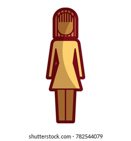 business woman standing character pictogram icon