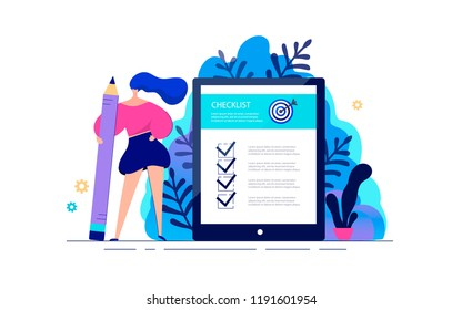 Business woman standing with giant pencil in hand near to checklist on tablet. Success work of online business. Questionnaire of task checkbox board. Vector illustration in flat style