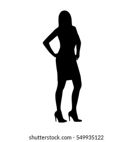 Business woman standing with hands on hips, high heels shoes, vector silhouette