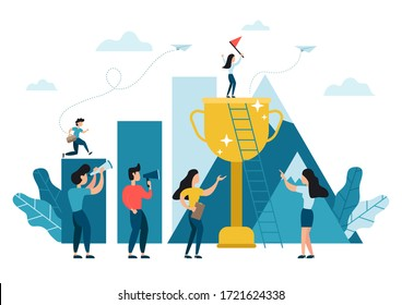 Business woman standing up on top of the big trophy cup reaching the flag, challenge carrer, path to the goal. Business concept growth to success, reach the target, creative ideas.