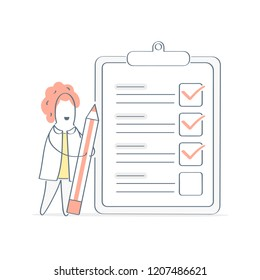 Business woman standing over marked to do checklist with pencil. Successful completion of business tasks, clipboard paper, questionnaire concept, business brief. Cute flat light outline vector