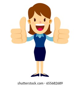 thumb cartoon images stock photos vectors shutterstock https www shutterstock com image vector business woman standing smiling while doing 655682689