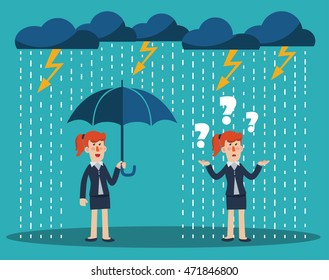 Business woman standing with umbrella under thunderstorm. Concept of business fail and protection