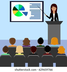 Business woman in a suit gives a lecture, presentation, leads the seminar, behind the podium. Training staff, meeting, report, business school. Illustration in flat style.