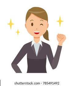 Business woman in suit wears fist