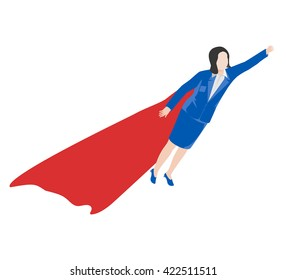 Business woman with a superhero cape flying in the isometric view.