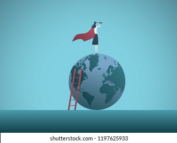 Business woman superhero on top of the world. Symbol of feminism, emancipation, success, confidence. Eps10 vector illustration.