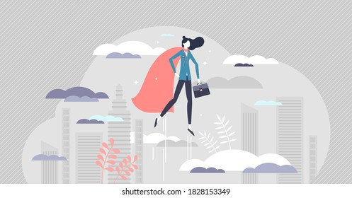 Business woman superhero as powerful female leader job tiny person concept. Strength and confidence in symbolic leadership vector illustration. Professional career achievement or personal growth scene