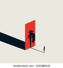 Business woman with superhero shadow vector concept. Minimalist art. Symbol of ambition, success, challenge. Professional career opportunity sign. Eps10 illustration.