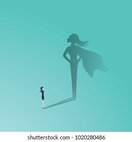 Business woman superhero vector concept. Businesswoman with superhero shadow. Symbol of confidence, leadership, power, feminism and emancipation. Eps10 vector illustration.
