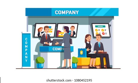 Business woman talking with company representative clerk standing at company trade show booth reception desk. Tradeshow business customers communication. Advertising interior. Flat vector illustration