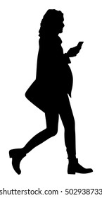 Business woman talking on the mobile phone silhouette. Woman walking vector illustration isolated on white background. Active lady urban scene. Selfie by online story on internet. Wi fi finding around