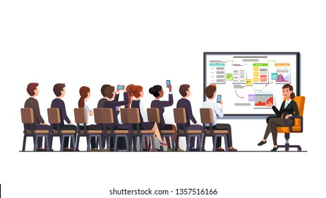 Business woman teacher trainer delivering lecture or presentation speech at business strategy convention to sitting audience group in classroom using whiteboard. Flat vector character illustration
