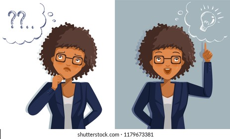 Business woman thinking. Emotions and gestures. Think not, do not understand, Think out. Concept The sharpness of the vision superior to competitors. Contradictory emotions.  illustrations vector.