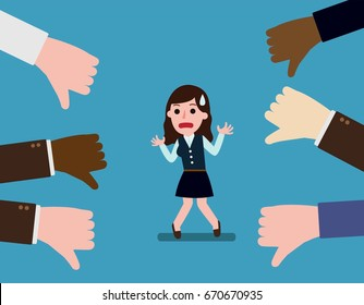 Business woman thumps down.Unsuccessful. Negative feedback conceptual. Colleagues dislike. concept of not accepted
