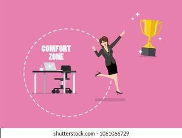 Business woman trying to break out of her comfort zone to success. Vector illustration