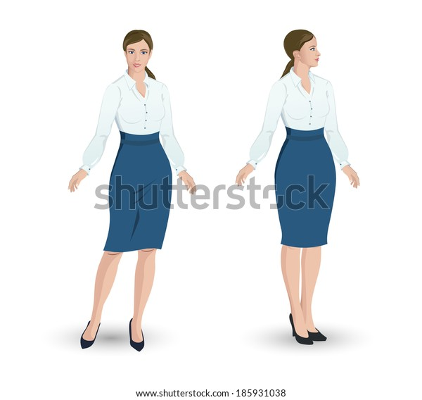 Business woman in two poses
