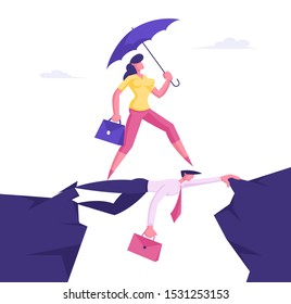 Business Woman with Umbrella in Hand Overcome Abyss Going by Back of Businessman like on Bridge, Social Climber, Careerist Reach Goal, Businesswoman Walk over Heads. Cartoon Flat Vector Illustration
