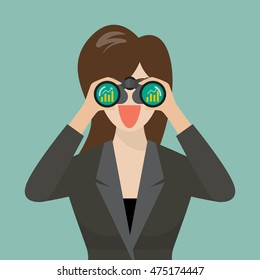 Business woman use binoculars looking for business future. vector illustration