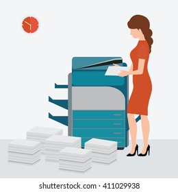 Business woman using copy print machine with Stacked pile of file documents, vector illustration.