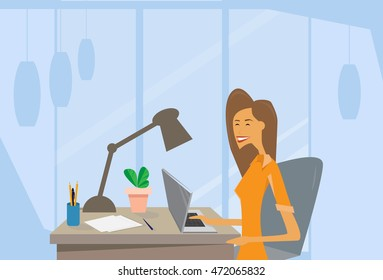 Business Woman Using Laptop Computer Workplace Office Desk Flat Vector Illustration
