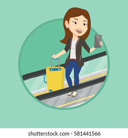 Business woman using smartphone on escalator in airport. Woman standing on escalator with suitcase and looking at mobile phone. Vector flat design illustration in the circle isolated on background.