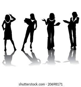Business woman vector silhouettes