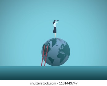 Business woman vision vector concept. Busineswoman standing on top of the world. Symbol of visionary, leadership, motivation, challenge, opportunity. Eps10 vector illustration.