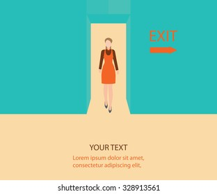 Business woman walk through a door with exit sign, Business people, conceptual vector illustration.
