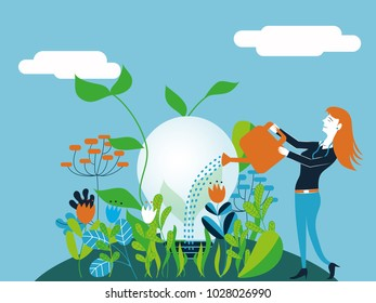 Business woman watering a light bulb - Vector illustration for concept of taking care and make growing a good and ecological idea
