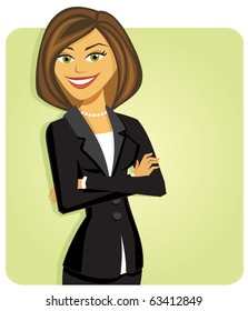 A business woman wearing a suit with her arms folded, smiling, standing in front of a solid green background.